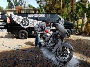 Motorcycle detail Starr auto works logo mobile detailing Los Angeles Santa Clarita Southern California